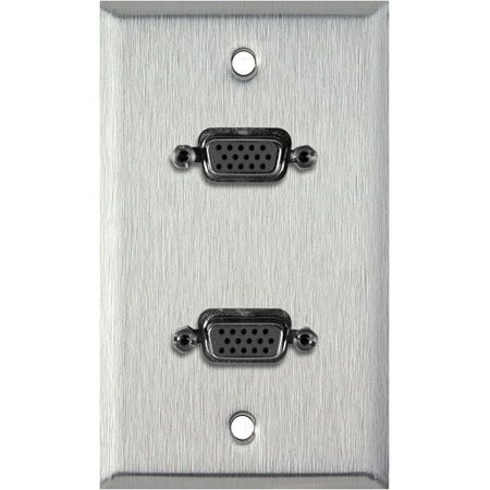1G Black Anodized Wallplate w/Two VGA HD 15-Pin Female Barrels