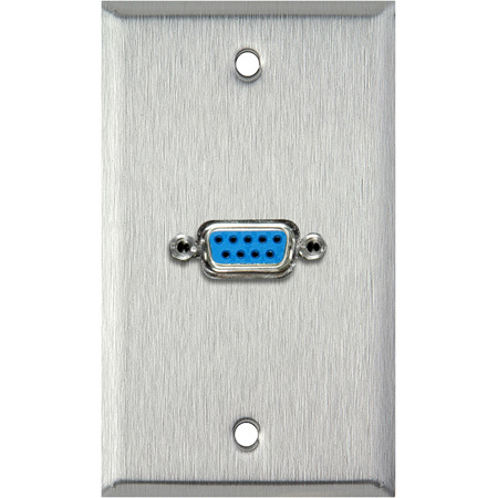 1G Black Anodized Aluminum Wall Plate with One 9-Pin D-Sub Barrel