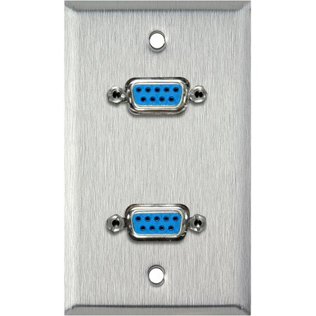 1-Gang Stainless Steel Wall Plate with Two 9-Pin D-Sub Barrels