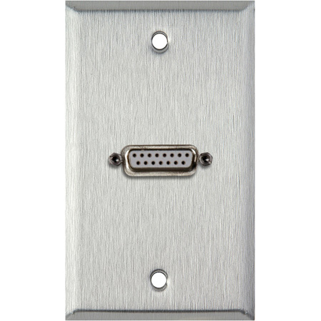 1G Brass Wall Plate with One 15-Pin Female Rear Solder Connector
