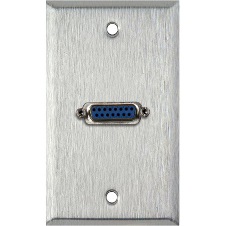 1G Black Anodized Aluminum Wall Plate with Single 15-Pin Female Barrel