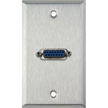 1G White Lexan Wall Plate with Single 15-Pin Female Barrel