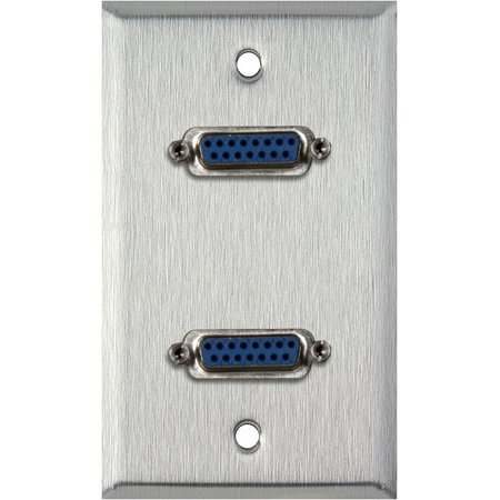 1G Clear Anodized Aluminum Wall Plate with Two 15-Pin Female Barrels