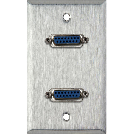 1G Black Anodized Aluminum Wall Plate with Two 15-Pin Female Barrels