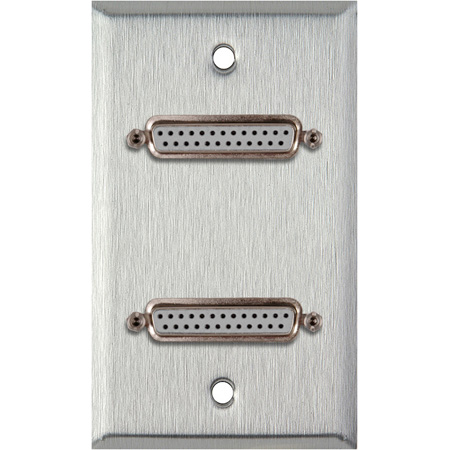 1G Stainless Steel  Plate with Two 25-Pin D-Sub Female to Rear Solder Points