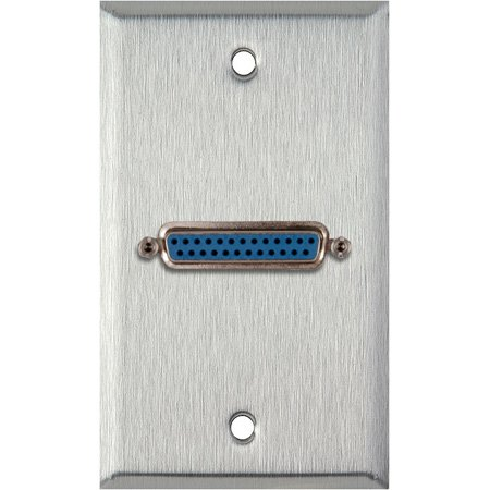 1G Clear Anodized Aluminum Wall Plate w/One 25-Pin D-Sub Female Barrel