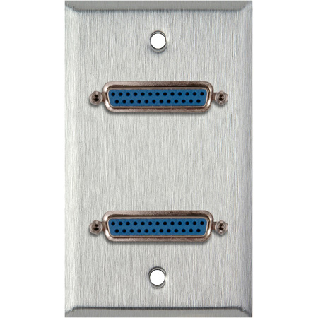 1G Stainless Steel Wall Plate with Two 25-Pin D-Sub Female Barrels