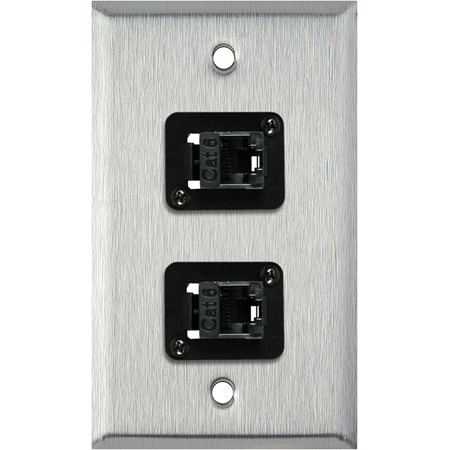1-Gang Black Anodized Wall Plate with 2 TecNec Cat 6 Barrels