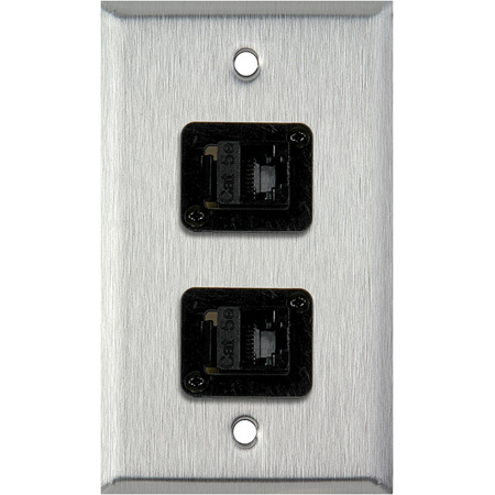 1G Gray Lexan Wall Plate with Two TecNec RJ45 Barrels