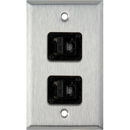 1G Ivory Lexan Wall Plate with Two TecNec RJ45 Barrels