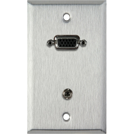 1G Ivory Lexan Wall Plate w/15-Pin HD Female Barrel & Stereo Mini Jack