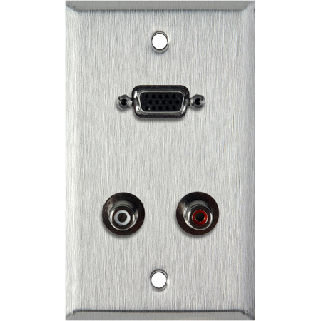 1G Clear Anodized Wall Plate with 15-Pin HD Female Barrel and Dual RCA Barrels