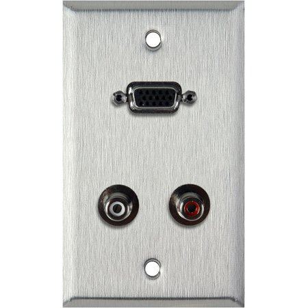 1G Black Anodized Wall Plate with 15-Pin HD Female Barrel and Dual RCA Barrels