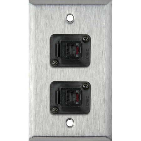 1-Gang White Lexan Wall Plate with 2 TecNec RJ11 Barrels