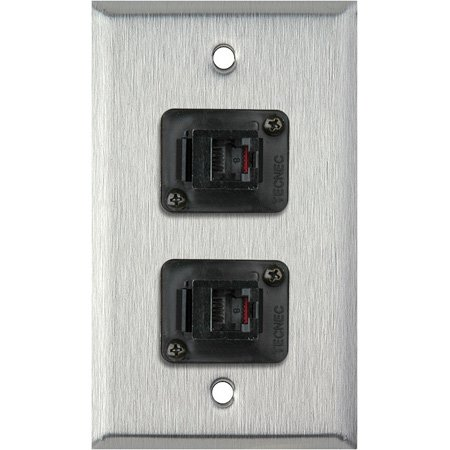 1-Gang Gray Lexan Wall Plate with 2 TecNec RJ11 Barrels