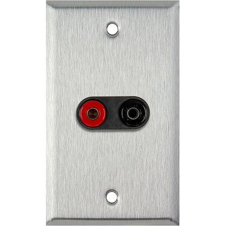 1G Clear Anodized Wall Plate w/1 Pomona Dual Banana Jack 1-Black/1-Red