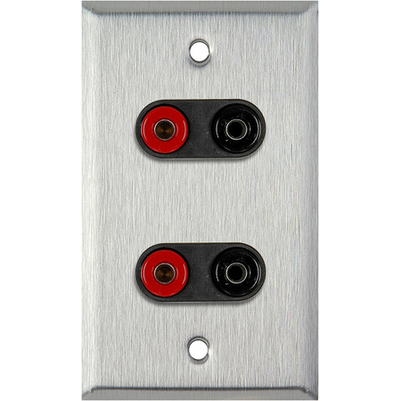 1G Brown Lexan Wall Plate w/2 Pomona Dual Banana Jacks (2-Black/2-Red)