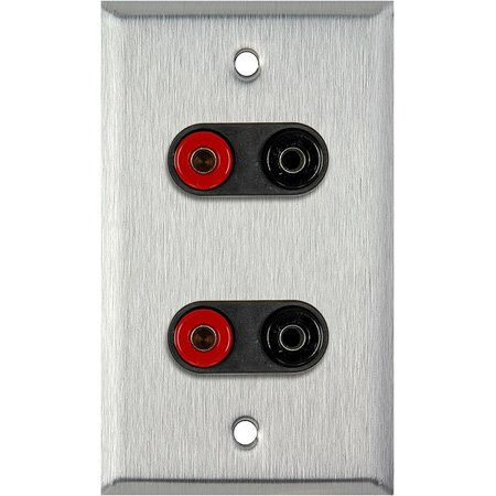 1G Gray Lexan Wall Plate w/2 Pomona Dual Banana Jacks (2-Black/2-Red)