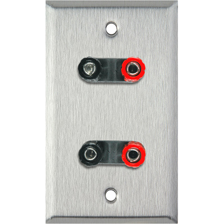 1G Gray Lexan Wall Plate with 2 Dual Binding Post Connectors
