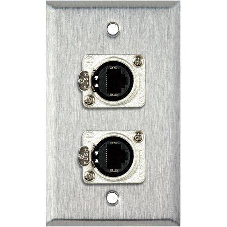 1G Clear Anodized Wallplate w/2 Neutrik RJ45 To Rear Krone Connectors