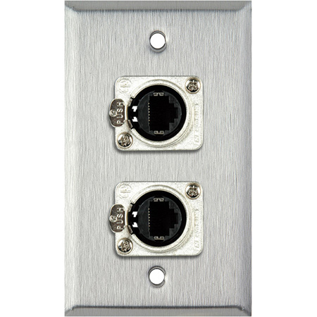 1G White Lexan Wall Plate w/ 2 Neutrik RJ45 To Rear Krone Connectors