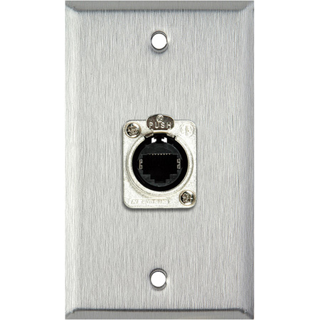 1G Stainless Wall Plate w/1 Neutrik RJ45 To Rear IDC110 Connector