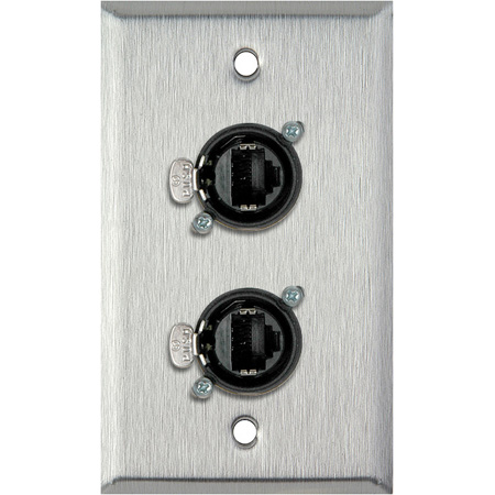 1G Clear Anodized Wallplate w/2 Neutrik RJ45 To Rear IDC110 Terminals