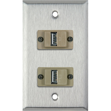1G Clear Anodized Aluminum Wall Plate with 2 USB A to B Barrels