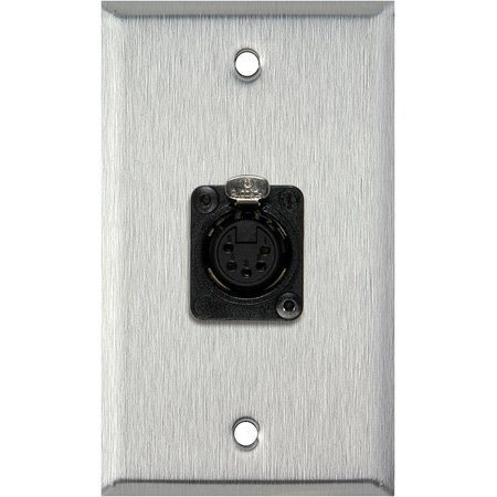 1G White Lexan Wall Plate with One 5-Pin XLR DMX Connector