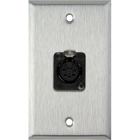 1G Gray Lexan Wall Plate with One 5-Pin XLR DMX Connector