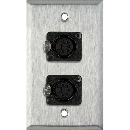 1G Stainless Steel Wall Plate with Two 5-Pin FXLR DMX Connectors
