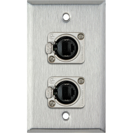 1G Clear Anodized Wallplate w/2 Neutrik NE8FDP Barrel Connectors