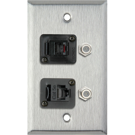 1G Black Anodized Wall Plate with 1-RJ45/1-RJ11 & 2- FJ-FJCM Barrel Connectors