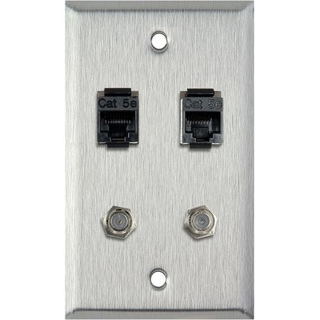 1G Black Anodized Wall Plate With 2- RJ45 Barrels & 2- F Coax Barrels