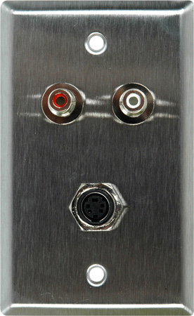 1G Clear Anodized Wall Plate w/ 1 SVideo to 2 BNC Breakout and 2 RCA