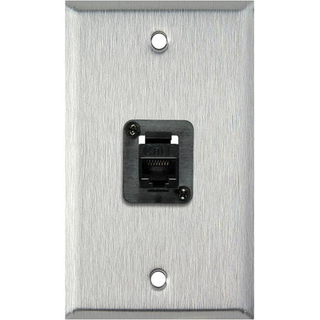 1G Clear Anodized Wall Plate with 1 TecNec Cat 6 Barrel