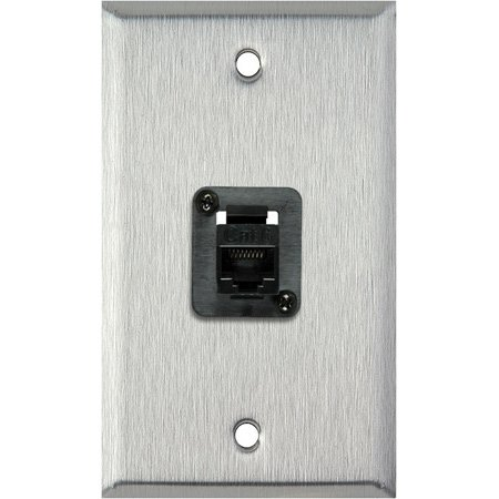 1G Black Anodized Wall Plate with 1 TecNec Cat 6 Barrel