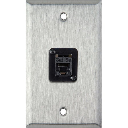 1G Black Anodized Aluminum Wall Plate with 1 TecNec RJ45 Barrel