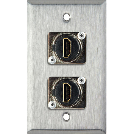 1-Gang Brass WallPlate With (2) HDMI Feedthru