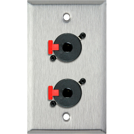 1G Black Anodized Wall Plate w/2 Neutrik NJ3FP6C 1/4-In. TRS Feed-Thru