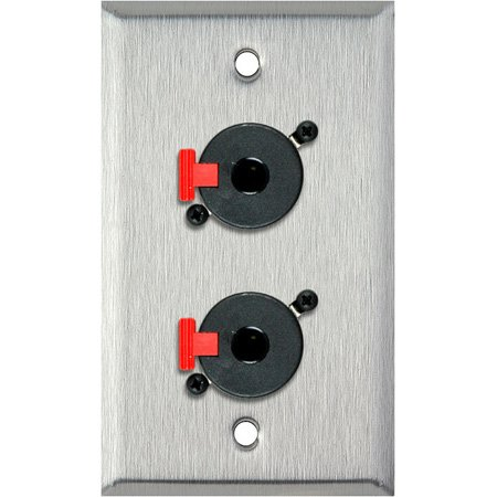 1G White Lexan Wall Plate w/2 Neutrik NJ3FP6C 1/4-Inch TRS Feed-Thru