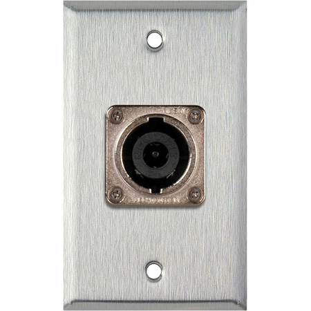 1G Black Anodized Wall Plate with 1 Neutrik NL8MPR 8 Pole Speakon Connector