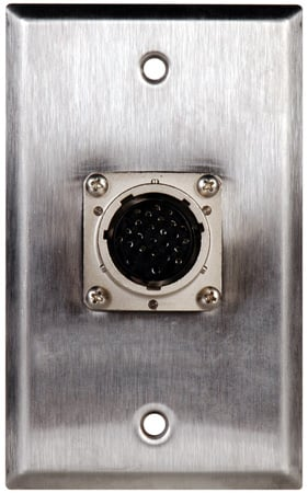 1G Stainless Wall Plate w/26 pin Male to Female Feed-Thru connector