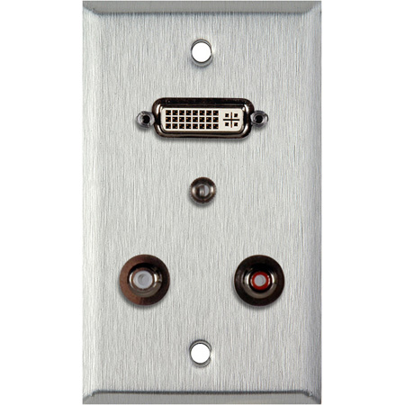 1G Black Anodized Wall PLate w/ 1 DVI-29 1 3.5st Ft & 2 RCA FT
