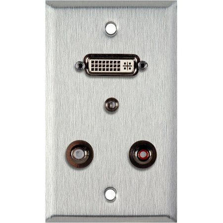 1G Clear Anodized Wall PLate w/ 1 DVI-29 1 3.5st Ft & 2 RCA FT