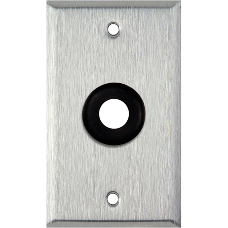 1-Gang Clear Anodized Aluminum Wall Plate with One 1/2 inch Grommet
