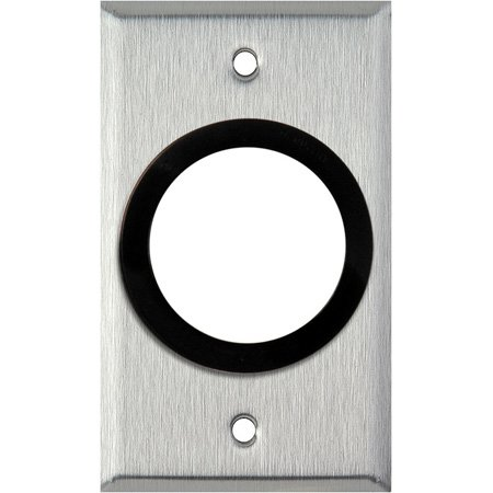 1-Gang Black Anodized Wall Plate with One 1-5/8in inch Grommet