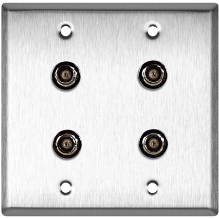 2-Gang Clear Anodized Aluminum Wall Plate with 4 BNC- RGBS Barrels