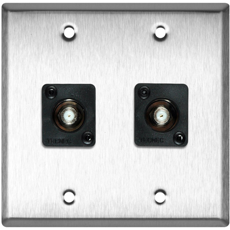 2-Gang Stainless Steel Wall Plate w/2 Front Recessed F- Female Barrels