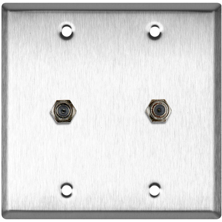 2G White Lexan Wall Plate with Two F- Female Barrel Connectors